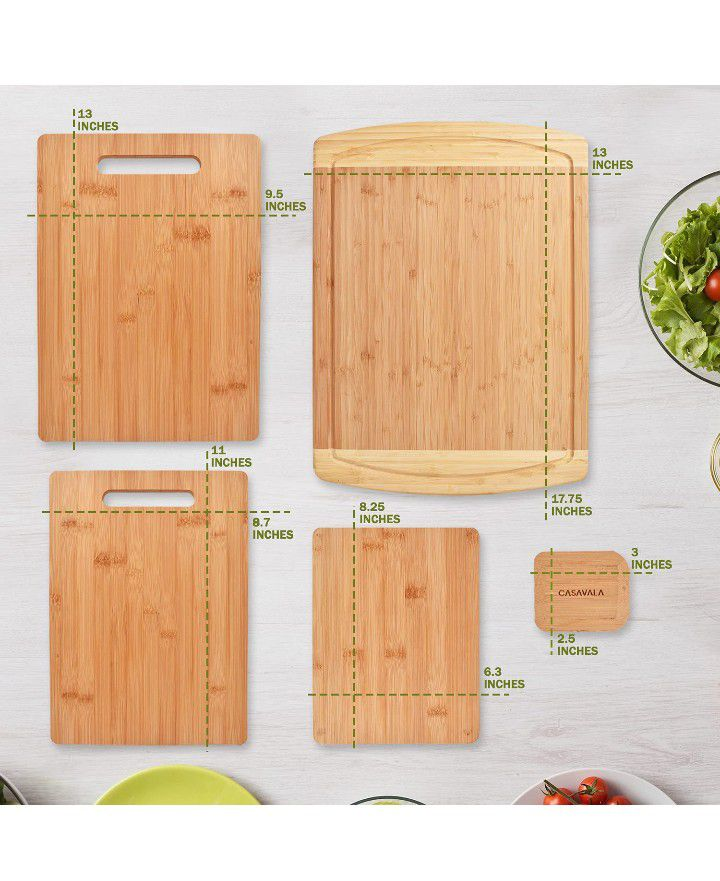 Premium Bamboo Cutting Board [5 Piece Set] With A Bamboo Pan & Board Scraper - Natural Wood Non-Slip Kitchen Chopping Board With Juice Groove & Handle