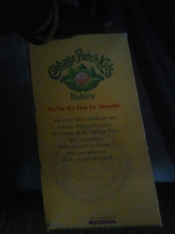 Adopted Cabbage Patch Doll In The Box With Birth Certificate