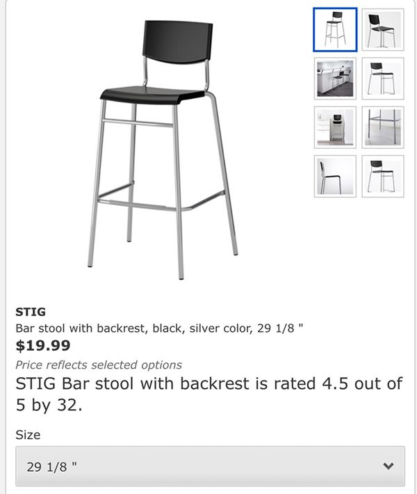 Superb Stackable Ikea Bar Stool 29 Black Colour 2 Pieces For Sale Gmtry Best Dining Table And Chair Ideas Images Gmtryco