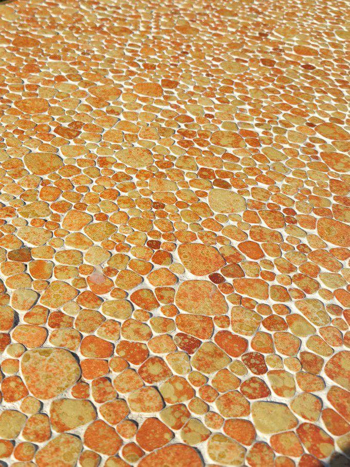 Retro Mid Century Orange Mosaic Glazed Tile Coffee Table | 60s 70s Funky coffee table