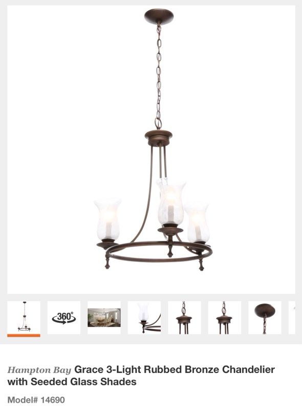 Hampton Bay Grace 3 Light Rubbed Bronze Chandelier With Seeded Glass Shades For In Glendale Az Offerup