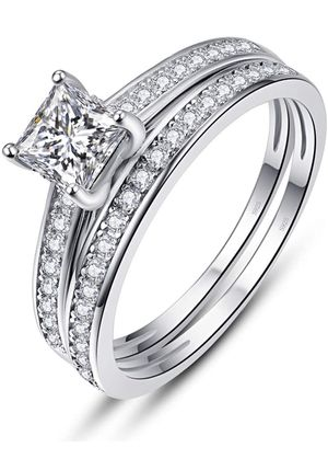 Photo 1.2ct Round Cut White CZ 925 Sterling Silver Crown Wedding Band Engagement Ring Bridal Set
