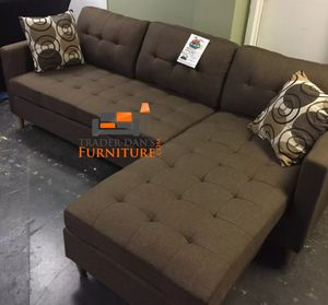 Brand New Brown Linen Sectional Sofa Couch + 2 Accent Pillows for Sale in Wheaton-Glenmont, MD