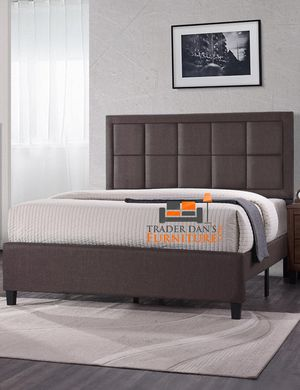 Brand New King Size Brown Linen Upholstered Platform Bed Frame ONLY for Sale in Silver Spring, MD