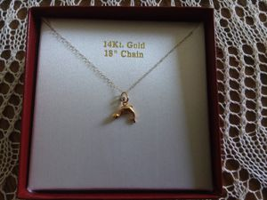 """14kt Yellow Gold Dolphin Pendant with 18"""" Chain Necklace !! Brand New !! for Sale in Manassas, VA"""