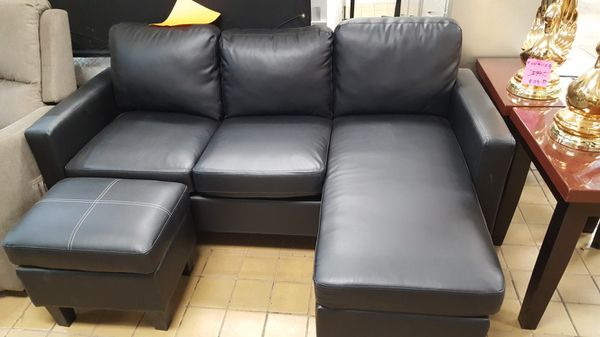 Brand New Black Faux Leather Sectional Sofa Couch Ottoman For Sale