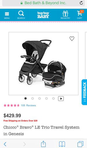 car seat/stroller/base Chicco Bravo Le Trio travel system for Sale in Rockville, MD