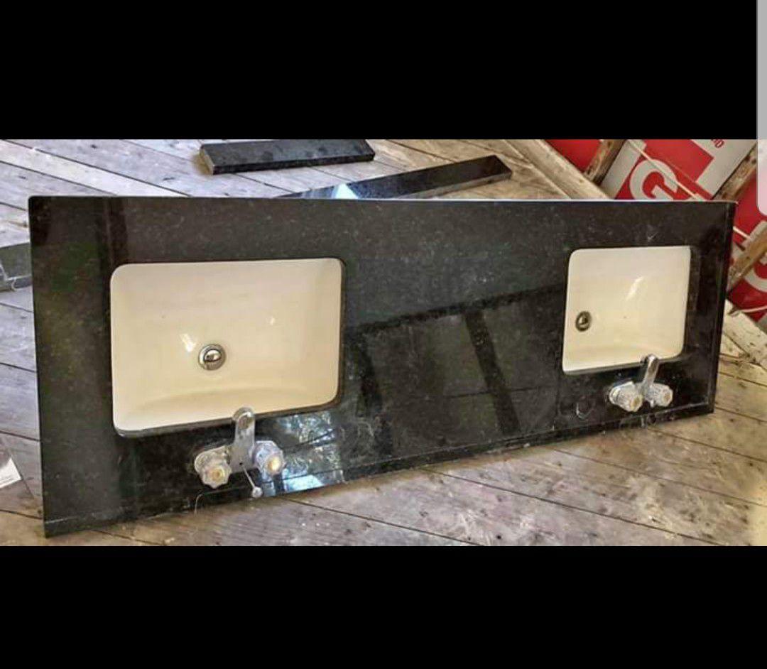 Granite vanity top with sinks