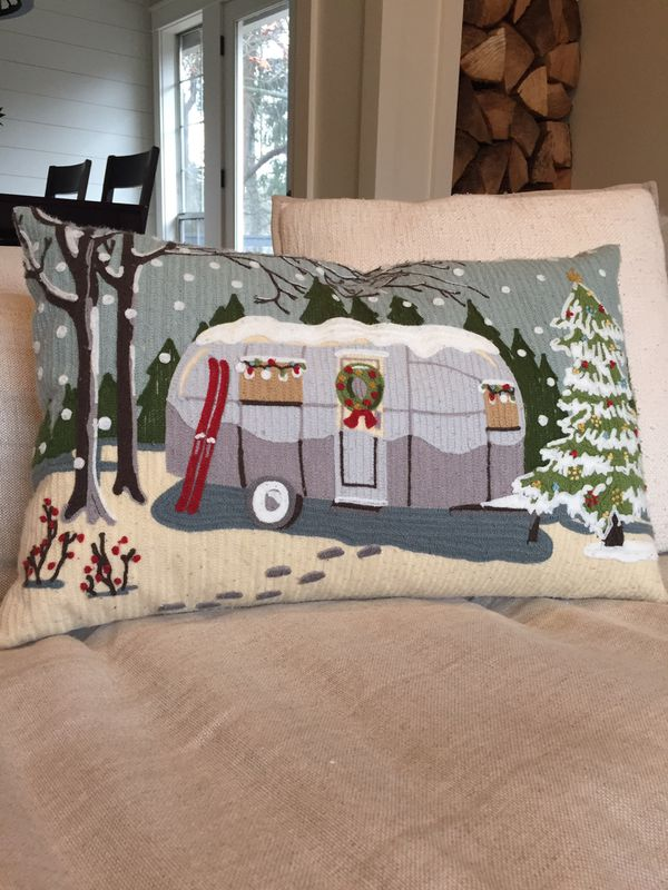 Pottery Barn Airstream Christmas Camper Crewel Embroidered