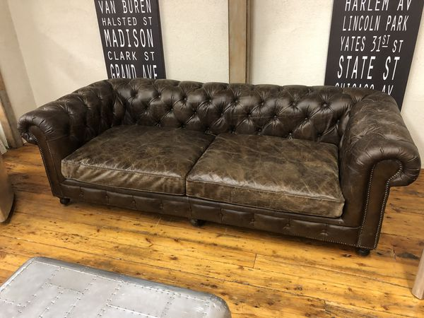 Restoration Hardware Kensington Leather Sofa 8 Luxe For Sale In