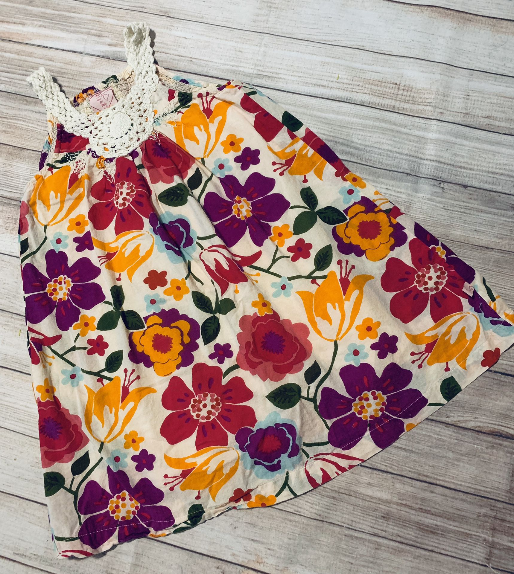 Beautiful Floral Crocheted Neck Dress - 5/6