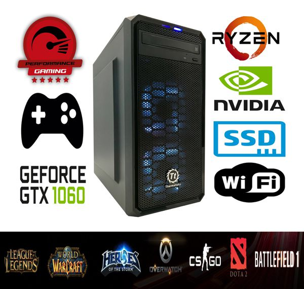 Powerful All New Ryzen 2600 16GB RAM Gaming Desktop Nvidia GTX 1060 6GB  Computer PC SSD Windows 10 WiFi for Sale in Brentwood, CA - OfferUp