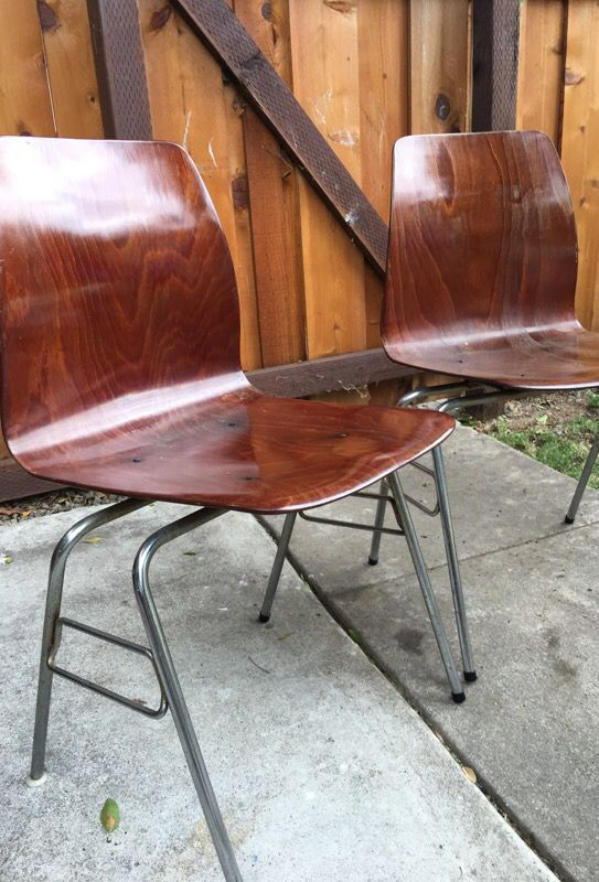 2 pagholz pag mid century modern bent molded plywood stacking chairs