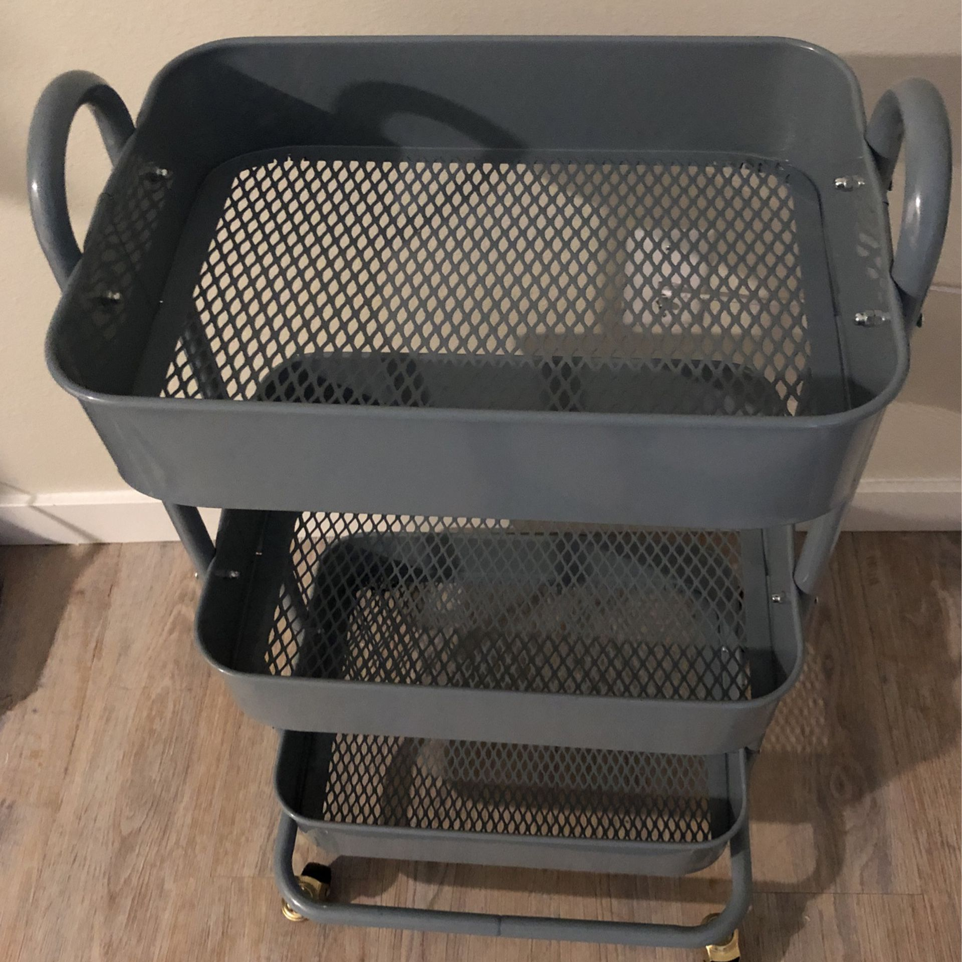 Blue 3-tiered utility cart, medium sized with wheels