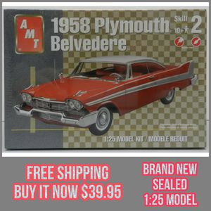 Photo NEW AMT/ERTL 1958 PLYMOUTH FURY 1/25 Scale Model ( NOS )