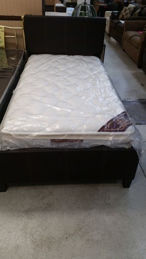 Brand New Twin Size Leather Platform Bed + Pillowtop Mattress for Sale in Silver Spring, MD