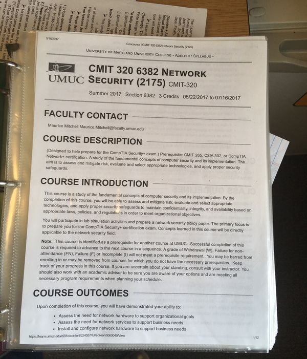 UMUC Computer Network Cybersecurity TestOut Labsim Binder (CMIT ...