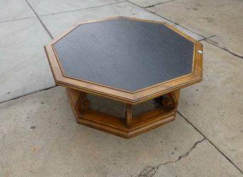 Drexel wood carved Coffee Table 40x17, Restoration Hardware, Mid Century Modern, walnut wood, USA, octagon, Pottery barn, williams sonoma, Game,Poker  Thumbnail