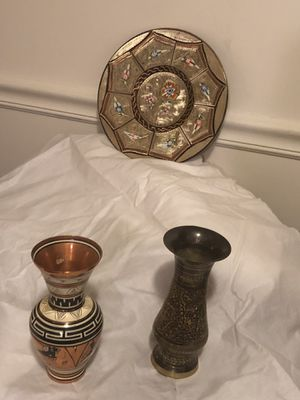 Copper plate wall decor and small vases for Sale in Great Falls, VA
