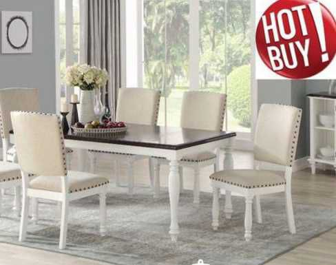 7 PC Dining Set 1 Table 6 Chairs Antique White Finish $799 ZY3BR