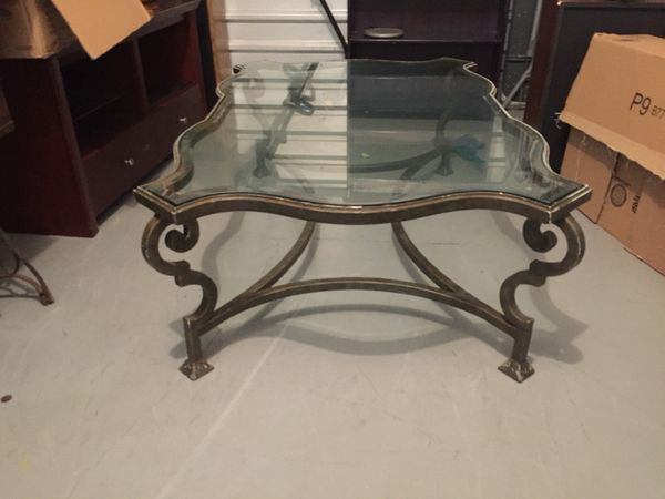 Antique French Wrought Iron Glass Coffee Table For Sale In