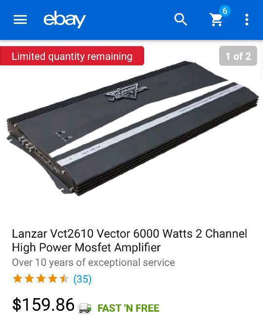 Lanzar Vct2610 Vector 6000 Watts 2 Channel High Power Mosfet Amplifier