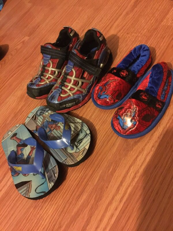 Spider-Man shoes running shoes/ filp flops/ slippers all different sizes for boys