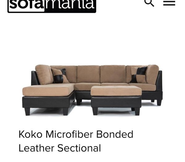 Peachy Koko Microfiber Bonded Leather Sectional For Sale In Gmtry Best Dining Table And Chair Ideas Images Gmtryco