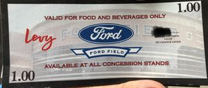 Ford Field Food and Beverage Coupons $1 for Sale in Canton, MI