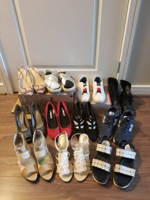 Lot of eleven pair of size 8 women's shoes/ sneakers/ heels - for Sale in Arlington, VA