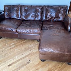 """83.5"""" Custon Leather Couch With Right Hand Chaise Lounge Thumbnail"""