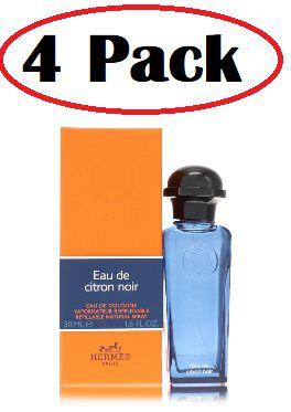 4 Pack of Eau De Citron Noir by Hermes Eau De Cologne Refillable Spray 1.6 oz