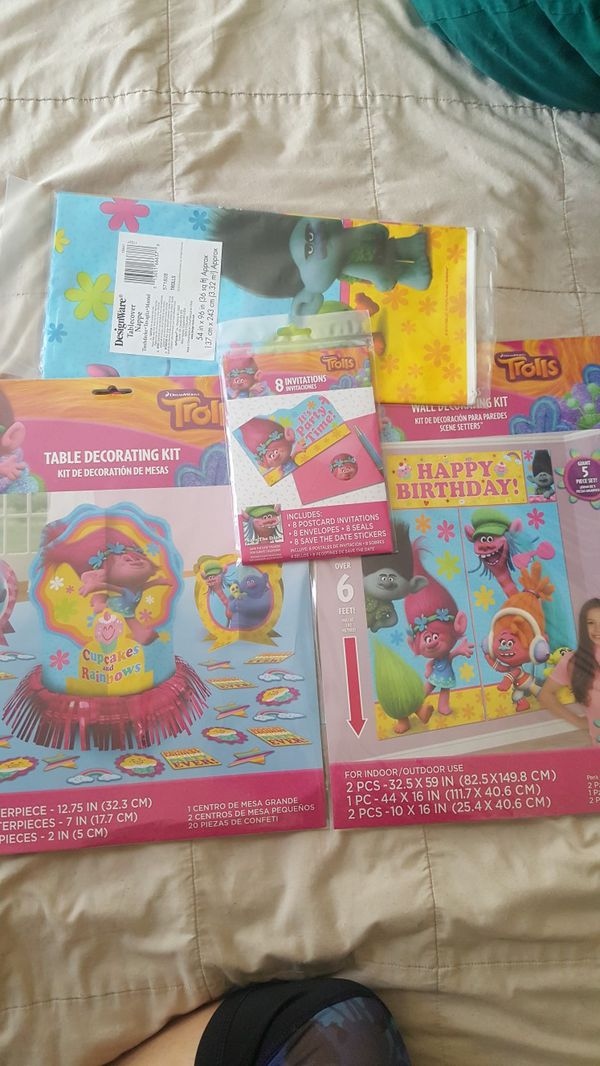 Dreamworks Trolls Birthday Party Invites And Supplies Set Brand New