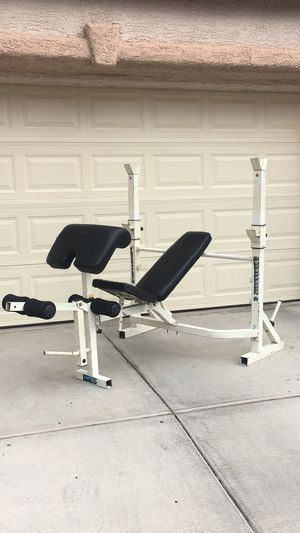 Photo Olympic Weight Bench Squat Stand with Preacher Curl Pad