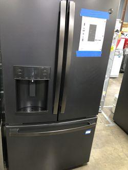 🔥😍🤯 GE 22.1 cu. ft. French Door Refrigerator in Black Slate Fingerprint  Thumbnail