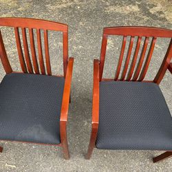 Two Wooden Office Chairs Thumbnail