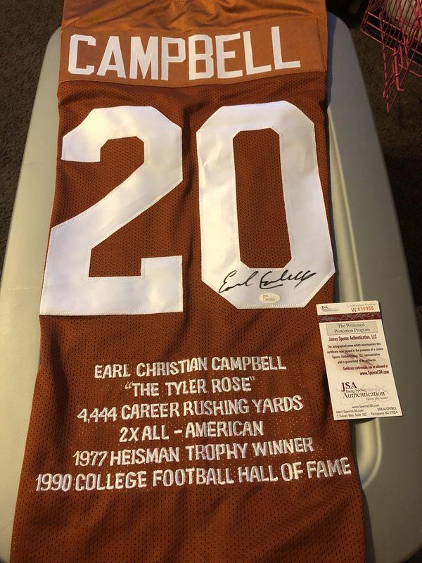 best service 30096 ec28a Earl Campbell signed Stat Jersey, JSA COA autographed Texas Longhorn Jersey  UT Houston Oilers for Sale in San Antonio, TX - OfferUp