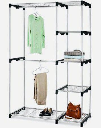 NEW 45x20x68 Inches Tall 2 Hanging Tier Bars Clothes Jackets Coat Shoe Organizer Garment Wardrobe Rack Shelf