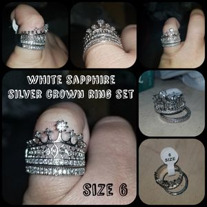 2 piece crown white sapphire ring and band size 6 for Sale in San Tan Valley, AZ