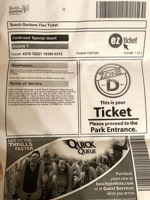 4 Busch Gardens & Williamsburg tickets for Sale in Arlington, VA