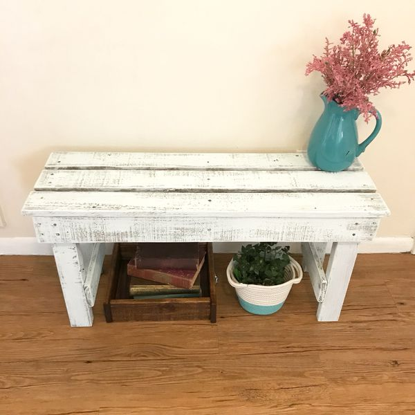 White Shabby Chic Painted Wood Bench Sturdy Rustic Inside Outside