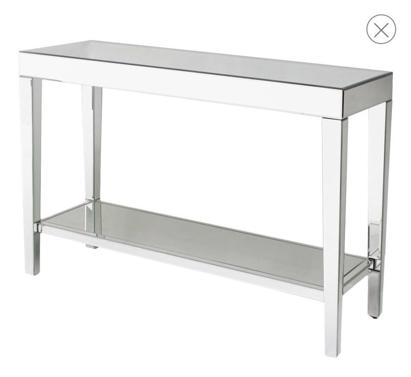 Modern Creation Mirrored Console Table, Used Mirrored Tables