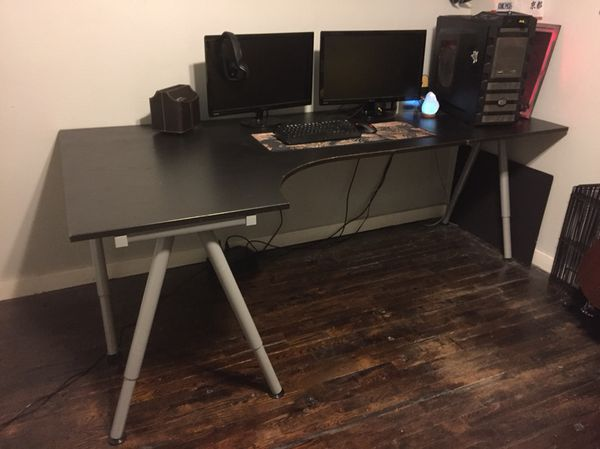 reputable site a2c44 14ca1 IKEA Galant desk- black with table extension for Sale in Tampa, FL - OfferUp