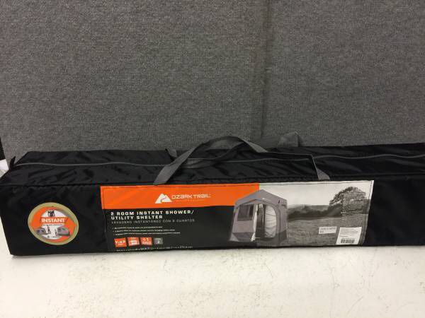 Ozark Trail 2 Room Instant Shower Utility Shelter Tent 5 Gallon Solar Heated New