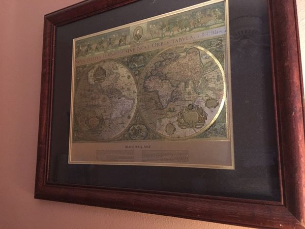 Vintage framed gold foil blaeu wall map of old and new world vintage framed gold foil blaeu wall map of old and new world furniture in seminole fl offerup gumiabroncs Image collections