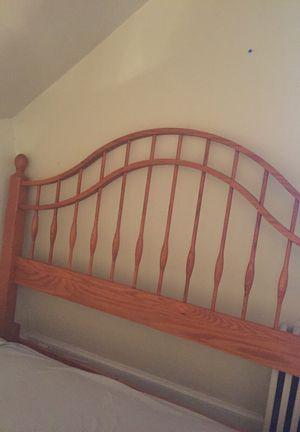 Solid oak bed frame/ headboard for Sale in Boston, MA