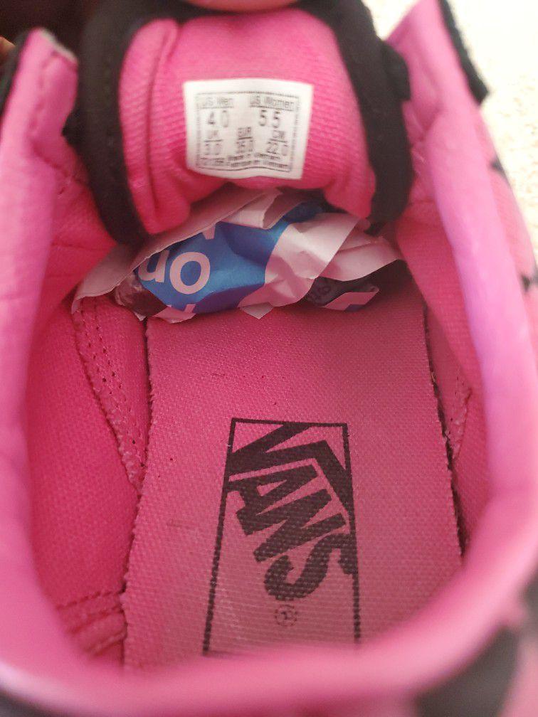 Vans Old Skool Hot Pink & Black Checkered Shoes Size 5.5 Girls