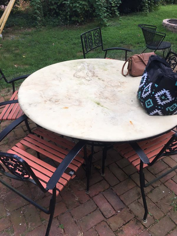 Marble Outdoor Table With Chairs Williamsburg Va