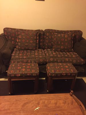 Brown Multi Color Sofa With 2 Matching Rolling Stools For In Greensboro Nc