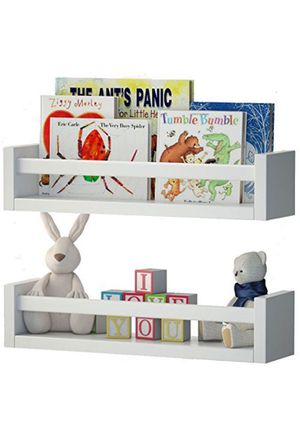 Set of 2 Nursery Room Wood Floating Wall Shelves White - ideal for for Books ,Toys and Spices for Sale in Reston, VA